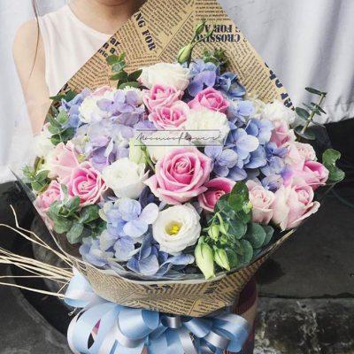 ช่อดอกไม้สีพาสเทล