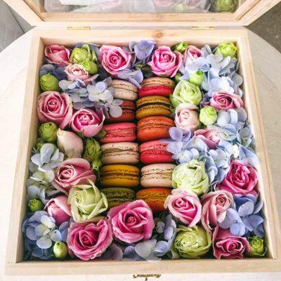 กล่องดอกไม้มาการอง